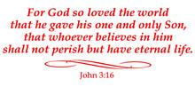 Load image into Gallery viewer, JOHN 3:16 RELIGIOUS WALL DECAL IN RED