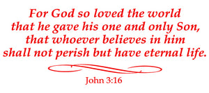JOHN 3:16 RELIGIOUS WALL DECAL IN RED