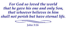 Load image into Gallery viewer, JOHN 3:16 RELIGIOUS WALL DECAL IN ROYAL BLUE