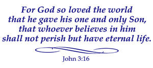 JOHN 3:16 RELIGIOUS WALL DECAL IN ROYAL BLUE