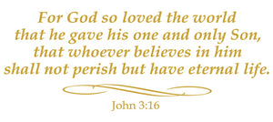JOHN 3:16 RELIGIOUS WALL DECAL IN CARAMEL TAN