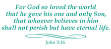 Load image into Gallery viewer, JOHN 3:16 RELIGIOUS WALL DECAL IN TURQUOISE