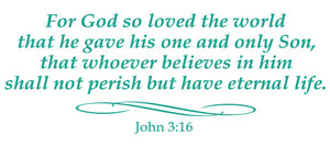 JOHN 3:16 RELIGIOUS WALL DECAL IN TURQUOISE