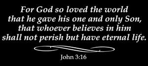 JOHN 3:16 RELIGIOUS WALL DECAL IN WHITE