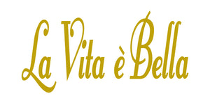 LA VITA E BELLA ITALIAN WORD WALL DECAL IN GOLD
