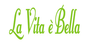 LA VITA E BELLA ITALIAN WORD WALL DECAL IN LIME GREEN