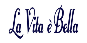 LA VITA E BELLA ITALIAN WORD WALL DECAL IN NAVY BLUE