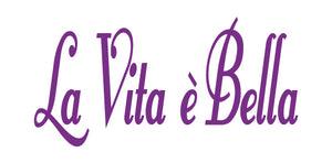 LA VITA E BELLA ITALIAN WORD WALL DECAL IN PURPLE