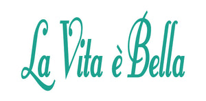 LA VITA E BELLA ITALIAN WORD WALL DECAL IN TURQUOISE