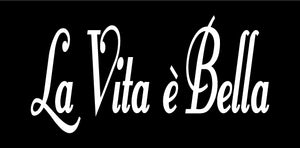 LA VITA E BELLA ITALIAN WORD WALL DECAL IN WHITE