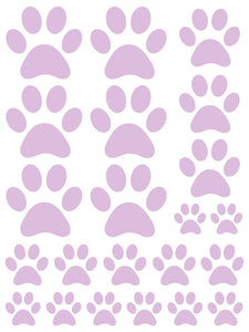 LAVENDER PAW PRINT WALL DECALS