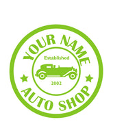 CUSTOM AUTO SHOP WALL DECAL IN LIME GREEN