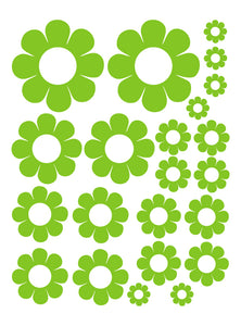 LIME GREEN DAISY WALL DECALS