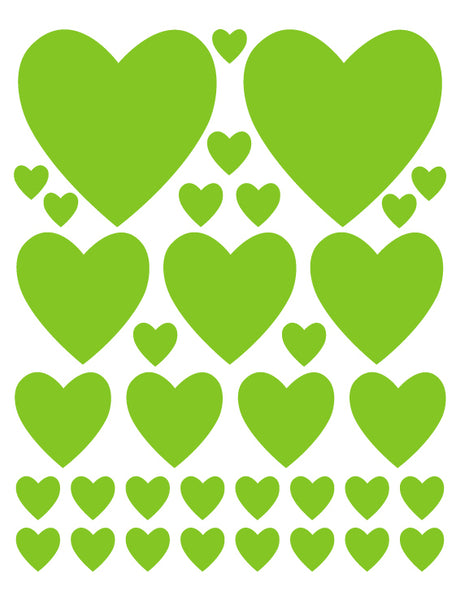 LIME GREEN HEART WALL DECALS