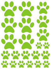 Load image into Gallery viewer, LIME GREEN PAW PRINT WALL DECALS