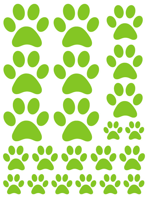 LIME GREEN PAW PRINT WALL DECALS