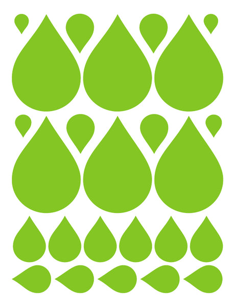 LIME GREEN RAINDROP WALL DECALS