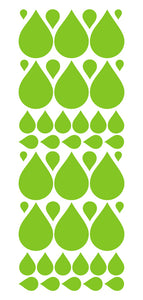 LIME GREEN RAINDROP WALL STICKERS