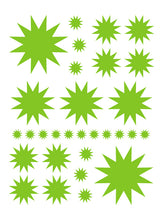 Load image into Gallery viewer, LIME GREEN STARBURST WALL DECALS