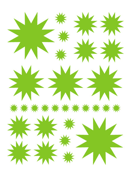 LIME GREEN STARBURST WALL DECALS