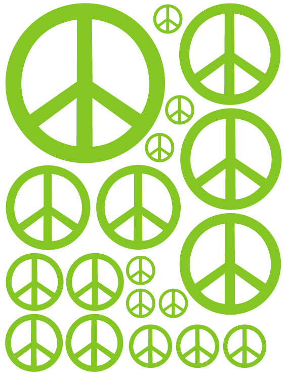 LIME GREEN PEACE SIGN WALL DECAL