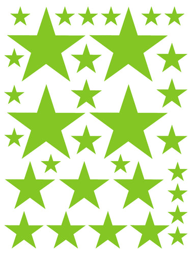 LIME GREEN STAR WALL DECALS