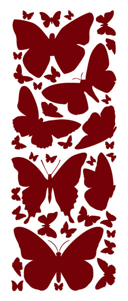 MAROON BUTTERFLY WALL DECALS