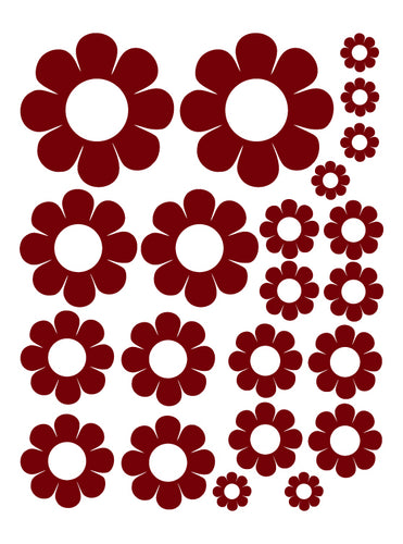 MAROON DAISY WALL DECALS