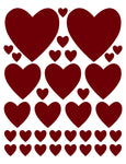 MAROON HEART WALL DECALS