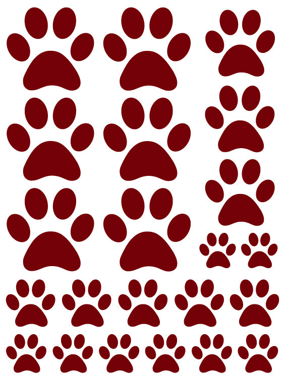 MAROON PAW PRINT WALL DECALS