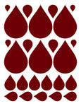 MAROON RAINDROP WALL DECALS
