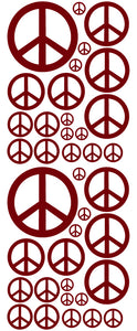MAROON PEACE SIGN STICKERS