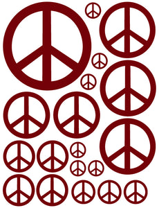 MAROON PEACE SIGN WALL DECALS