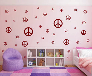 MAROON PEACE SIGN DECALS