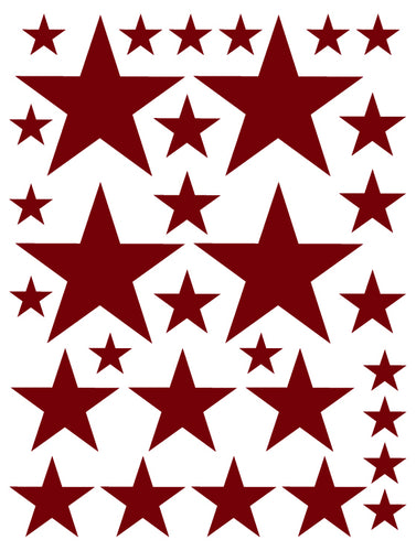 MAROON STAR WALL DECALS
