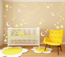 Load image into Gallery viewer, MOON AND STARS WALL STICKERS