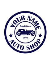 CUSTOM AUTO SHOP WALL DECAL IN NAVY BLUE