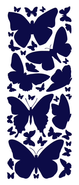 NAVY BLUE BUTTERFLY WALL DECALS