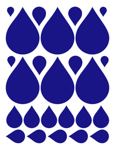 ROYAL BLUE RAINDROP WALL DECALS