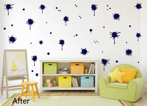 NAVY BLUE PAINT SPLATTER WALL STICKER