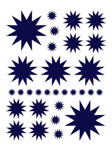 NAVY BLUE STARBURST WALL DECALS