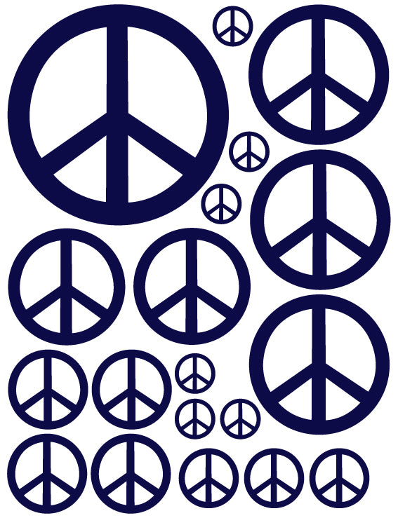 NAVY BLUE PEACE SIGN WALL DECAL