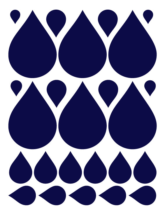 NAVY BLUE RAINDROP WALL DECALS