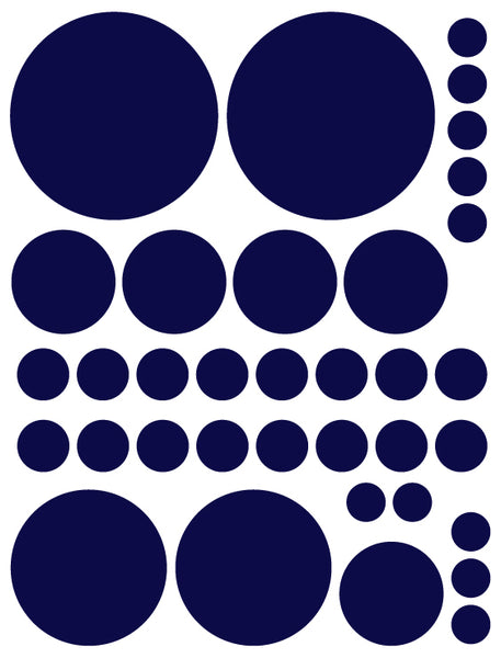 NAVY BLUE POLKA DOT WALL DECALS