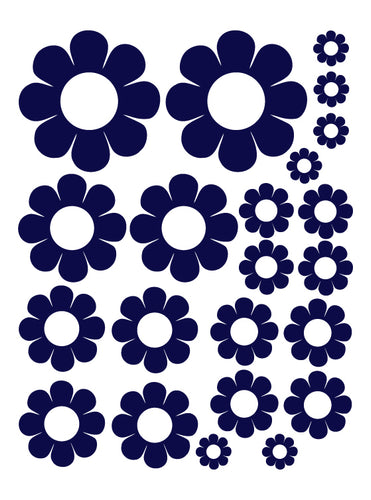 NAVY BLUE DAISY WALL DECALS