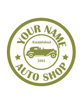 CUSTOM AUTO SHOP WALL DECAL IN OLIVE GREEN