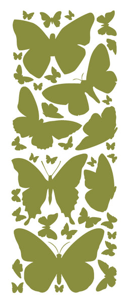 OLIVE GREEN BUTTERFLY WALL DECALS