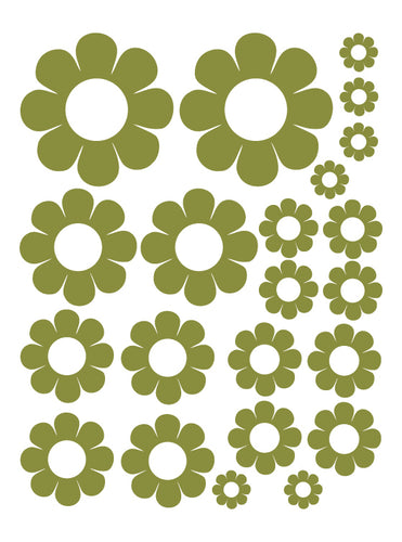 OLIVE GREEN DAISY WALL DECALS