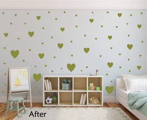 OLIVE GREEN HEART STICKERS