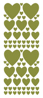 OLIVE GREEN HEART WALL STICKERS